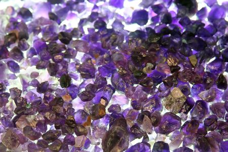 amethyst rough: Amethyst crystals rough and uncut raw gemstones Stock Photo