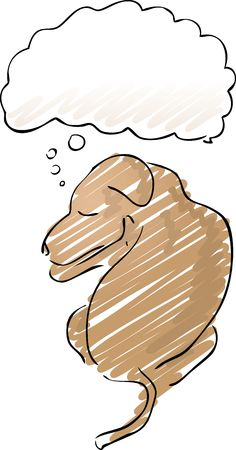 contemplating: Illustration of a sleeping dog with a thought balloon over his head