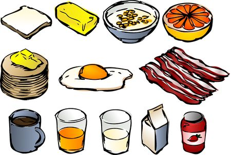 Breakfast clipart illustrations, vector, 3d isometric style: bread, butter, cereal, grapefruit, pancakes, fried egg, bacon, coffee, orange juice, milk, jam
