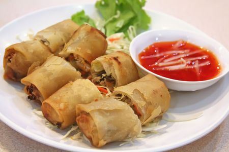 chinese noodles: Springrolls traditional fried appetizer chinese cuisine