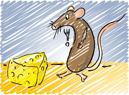 starving: Cartoon illustration of a mouse about to eat some cheese