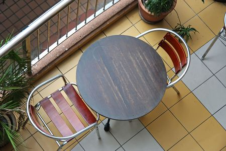 topdown: Top down view of cafe bistro table and chairs Stock Photo