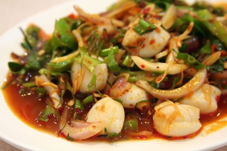 Thai seafood and vegetable salad white plate Stock Photo - 1934712