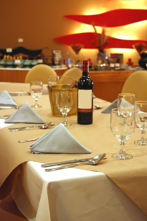 comtemporary: Interior of a luxury comtemporary restaurant table and setting Stock Photo