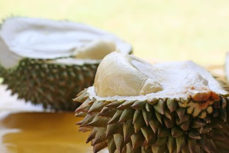 Fresh open durian fruit fresh tropical exotic photo