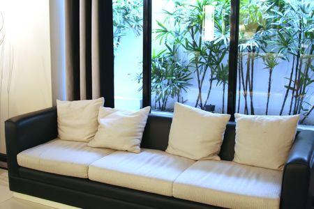 Living room waiting room with elegant modern black and white design Stock Photo - 1934716