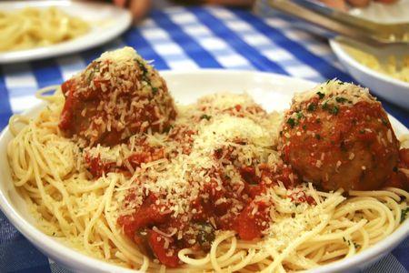 Dish of spaghetti and meatballs italian cuisine pasta photo
