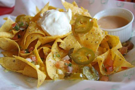 tex: Nachos mexican snacks fried corn chips cuisine