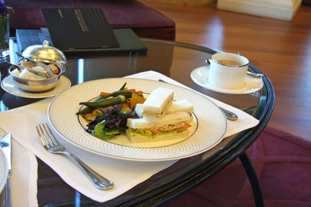 Classic british afternoon tea with finger sandwiches photo
