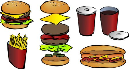 junkfood: Fast food illustrations line-art hand-drawn inked look