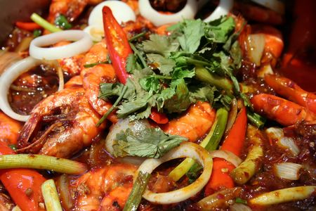 Spicy prawn dish traditional tropical asian cuisine photo