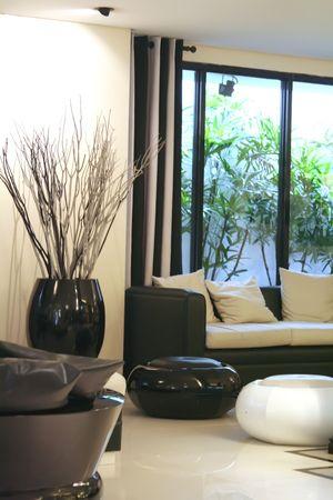 Living room waiting room with elegant modern black and white design Stock Photo