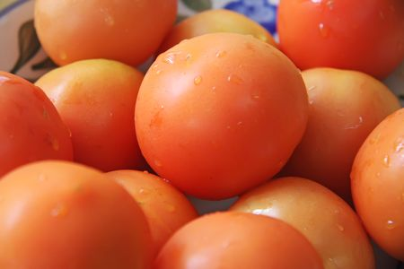 arranged: Fresh whole round raw red tomatoes arranged in bowl