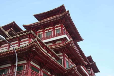 Architectural detail of  traditional chinese temple  rooftop against sky photo