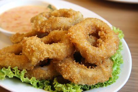 squids: Deep batter fried squid rings calamari in plate