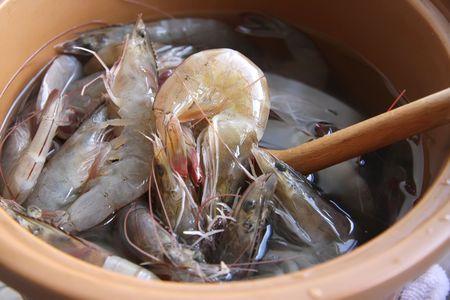 Whole fresh raw prawns in shell unpeeled photo