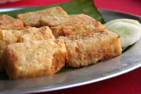 Fried tofu beancurd on plate traditional chinese cuisine  photo