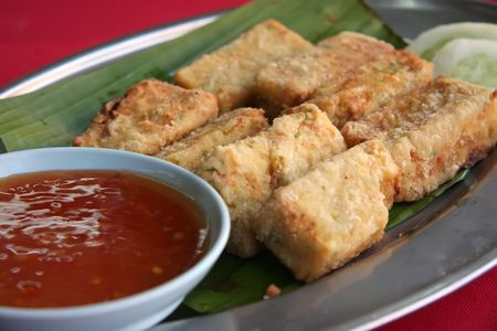 Fried tofu beancurd with dipping sauce traditional chinese cuisine photo