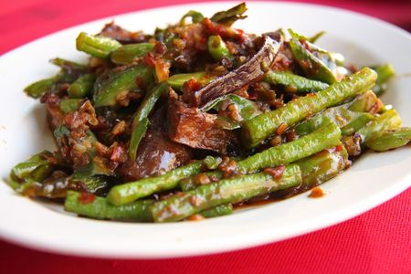 Assorted stirfried vegetables in spicy sauce traditional Chinese Malaysian cuisine photo