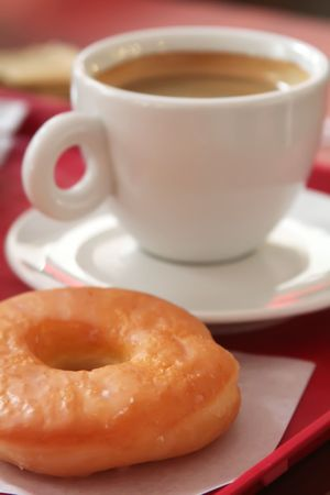donuts: Donut and coffee mug on a fast food tray