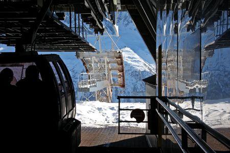 station ski: Cable car station for skiers in Chamonix swiss alps ski resort