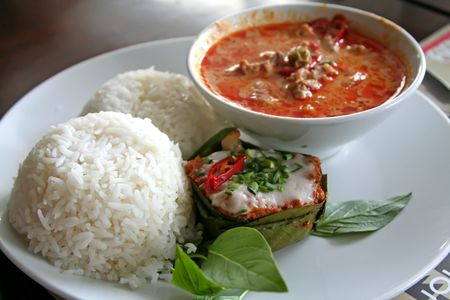 fished: Thai dish of spicy curry steamed fish pudding and rice traditional cuisine