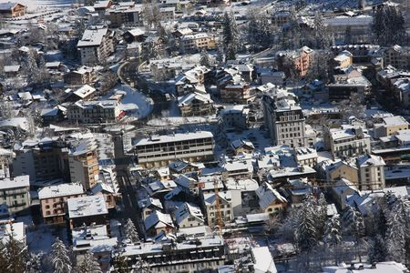 Panoramic view of the French ski resort of Chamonix in wintertime Stock Photo - 2404345