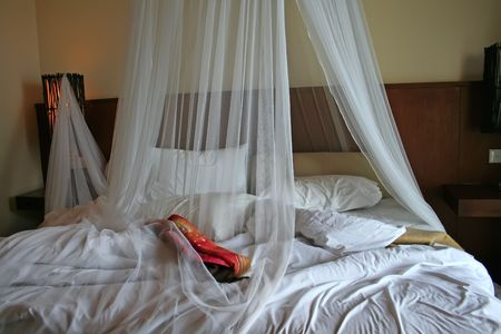 netting: Tropical bed with mosquito netting and balcony