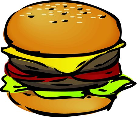 Hamburger with cheese tomatoes and lettuce. hand-drawn lineart sketch Stock Photo