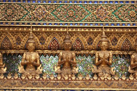 Architecture detail in the Emerald buddha temple in Bangkok Thailand