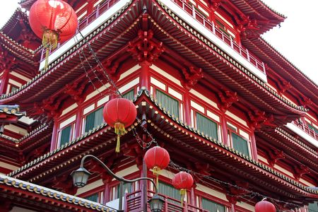 Architectural detail of  traditional chinese temple  with red lanterns photo