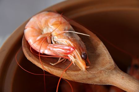Whole fresh cooked prawns in shell unpeeled photo