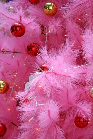 shiney: Closeup of a pink christmas tree with ornaments