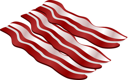 bacon: Cooked bacon strips. isometric illustration