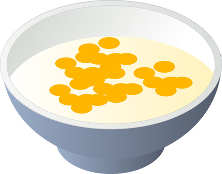 Breakfast cereal with milk in a bowl, isometric illustration Stock Vector - 2427602