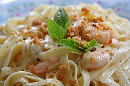 Pasta ala oglio with shrimp Italian cuisine Stock Photo - 2459706