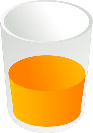 Glass of orange juice, isometric 3d illustration