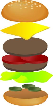 Hamburger illustration, breakdown into sections. 3d isometric vector illustration