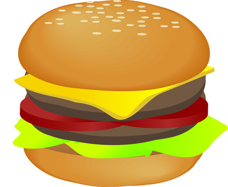 Hamburger with cheese tomatoes and lettuce. 3d isometric vector illustration Vector