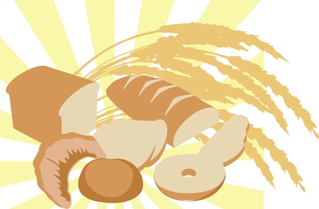 abundance: Illustration of an abundance of bread and harvest