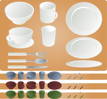 porcelain plate: Dining set, vector illustration isometric style in various colors: plates, mug, cup, glass, bowl, fork, spoon, knife