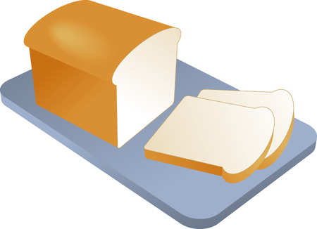 bread loaf: Sliced baked bread, isometric illustration