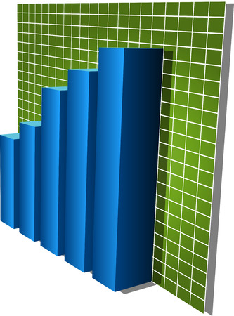 commissions: Three-d barcharts, blue over green, 3d isometric vector illustration