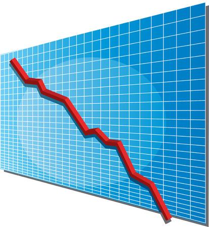 negativity: Linechart going down, isometric 3d vector illustration