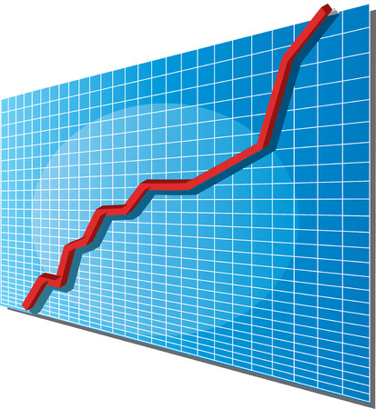 regional: Linechart going up, isometric 3d vector illustration