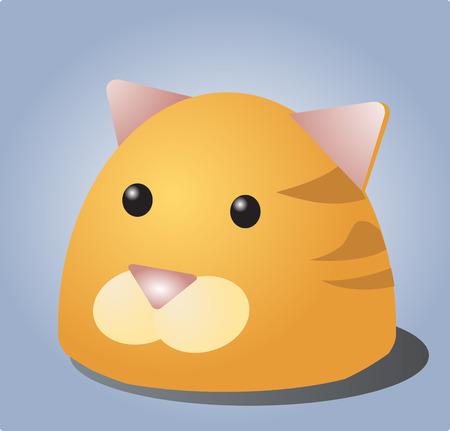 puss: Cute cartoon illustration of a cats head Illustration
