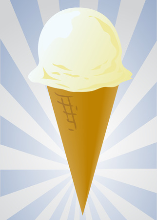 Ice cream cone illustration, vanilla single scoop