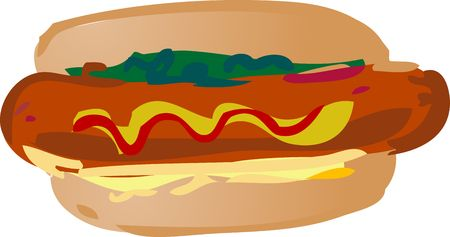 weiner: Hot dog fast food, hand drawn look illustration