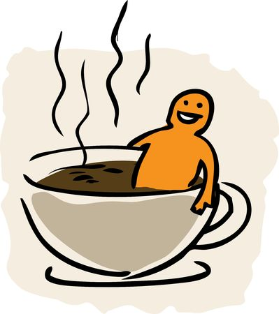 bathe mug: Humorous cartoon illustration of taking a bath in a cup of coffee