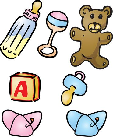 nappies: Illustration set of  items: bottle, rattle, teddybear, alphabet bloc, pacifier, diapers